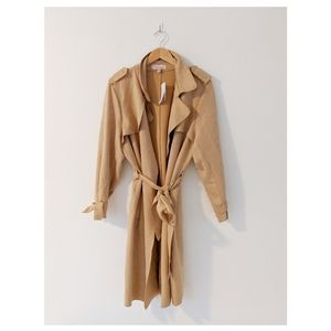 Philosophy Camel Suede Plus Size Trench Coat